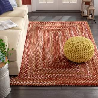 August Grove Holcombe Red Wool Hand Braided Area Rug