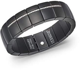 Luce Roberto Demeglio 18K White Gold & Matte Black Ceramic Domino Rectangular Stretch Bracelet with and Diamonds