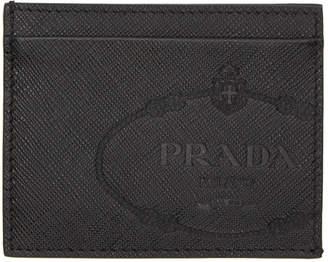 Prada Black Saffiano Logo Print Card Holder
