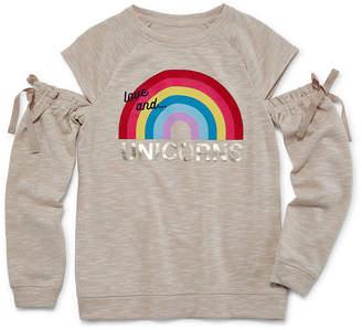 Arizona Long Sleeve Cold Shoulder Graphic Sweatshirt - Girls' 4-16 & Plus