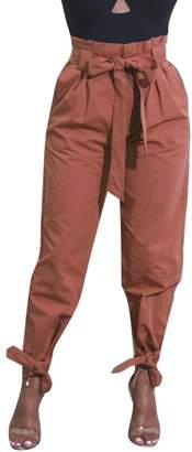 Suncolor8-Women Suncolor8 Women's High Waist Solid Bow Tie Casual Harem Jogger Pants Trousers S