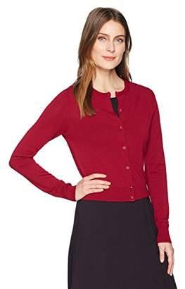 Lark & Ro Women's Crewneck Cropped Cardigan Sweater