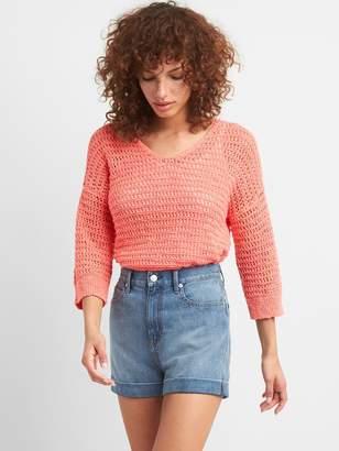 Gap Crochet Pullover V-Neck Sweater