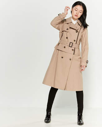 London Fog Khaki Asymmetrical Zip Trench Coat