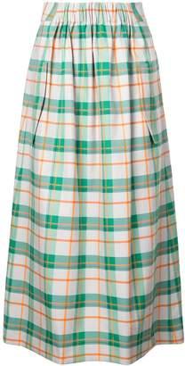 Tibi Hani plaid smocked skirt