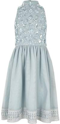 River Island Girls Blue embellished flower girls dress