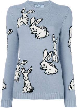 rabbit intarsia knit jumper