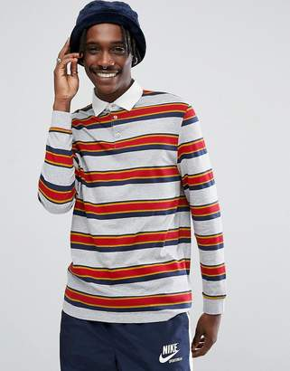 Asos Relaxed Long Sleeve Rugby Polo Shirt With Retro Stripe