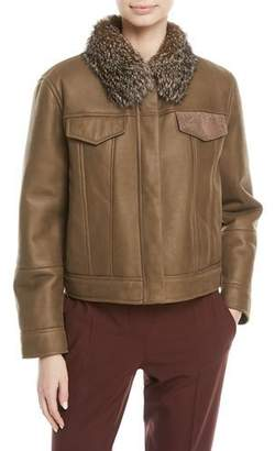 Brunello Cucinelli Cropped Shearling Leather Jacket with Fox Fur Collar