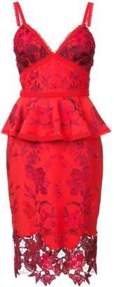 Marchesa peplum bodice dress