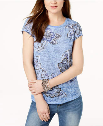 INC International Concepts I.n.c. Floral-Print Burnout T-Shirt, Created for Macy's