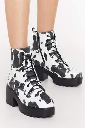 Nasty Gal Cow Print Chunky Lace Up Biker Boot