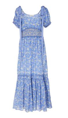 LoveShackFancy Angie Shirred Bow-Tie Detailed Cotton Midi Dress Size: