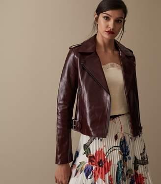Reiss Isla Patent Leather Biker Jacket