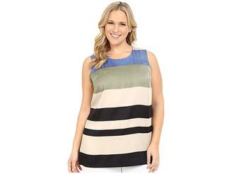 Vince Camuto Specialty Size Plus Size Sleeveless Veranda Stripe Blouse Women's Sleeveless