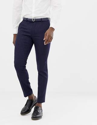 Moss Bros skinny suit pants navy crepe double breasted