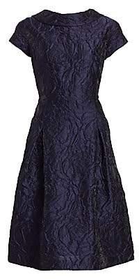 Teri Jon by Rickie Freeman Women's Floral Jacquard Cap Sleeve A-Line Dress