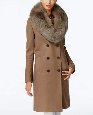 Elie Tahari Fox-Fur-Trim Double-Breasted Walker Coat