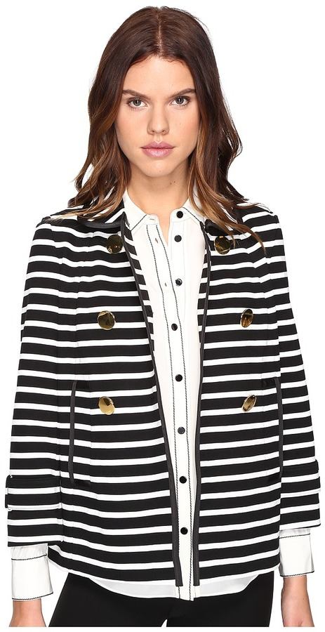 Kate Spade Kate Spade New York - Stripe Peacoat Women's Coat