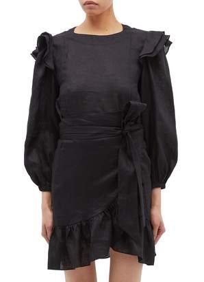 7914814c0f0 Etoile Isabel Marant  Telicia  belted ruffle shoulder mock wrap mini dress
