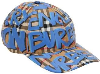 Burberry Graffiti Check Cotton Baseball Hat