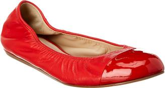 Lanvin Cap Toe Leather Ballerina Flat
