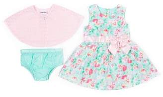 Little Lass Printed Floral Shantung Dress & Knit Shrug, 2pc Outfit Set (Baby Girls & Toddler Girls)