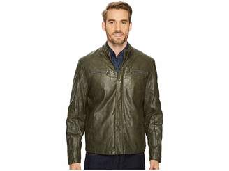 Kenneth Cole New York PU Jacket with Tab Collar Detail Men's Coat