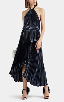 Philosophy di Lorenzo Serafini Women's Metallic Velvet Halter Gown - Dk. Blue