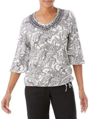 Olsen Three-Quarter-Sleeve Paisley-Print Tee