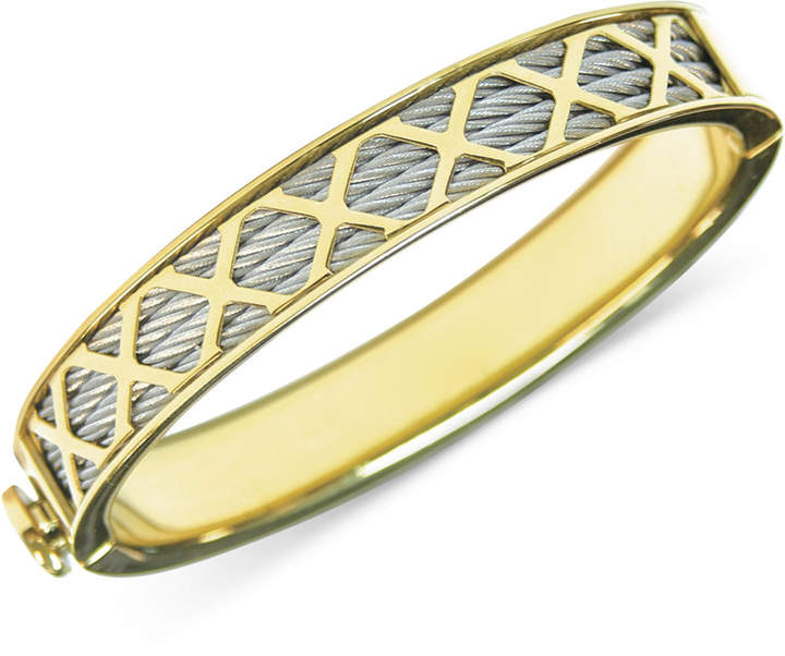 CharriolCHARRIOL Womens Stainless Steel PVD Yellow Gold-Tone Multi-X Cable Bangle Bracelet