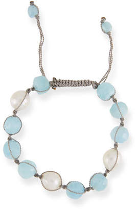Margo Morrison Adjustable Pearl & Aquamarine Bracelet
