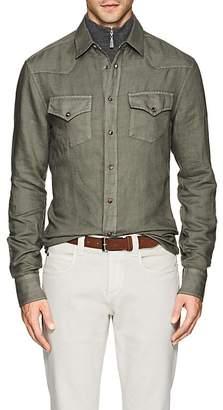 Brunello Cucinelli Men's Linen-Cotton Western Shirt