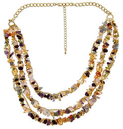 Yochi Multi Strand And Stone Necklace