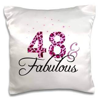 3dRose 48 and Fabulous - fun girly birthday gift - black and hot pink leopard print pattern bday diva text - Pillow Case, 16 by 16-inch