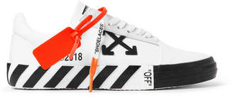 Off-White Off White Suede-Trimmed Printed Canvas Sneakers - Men - White
