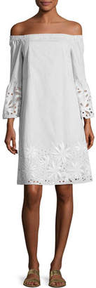 Lafayette 148 New York Off-the-Shoulder Mélange Striped Dress w/ Floral Cutouts