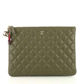 Chanel Green Leather Clutch Bag
