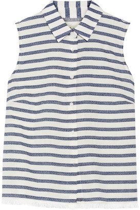 Madewell - Moment Striped Cotton-blend Shirt - White $70 thestylecure.com
