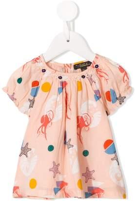 Velveteen sea creatures print blouse