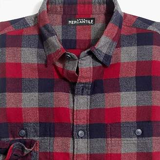 J.Crew Mercantile Tall slim-fit heather flannel shirt in multi-colored buffalo check