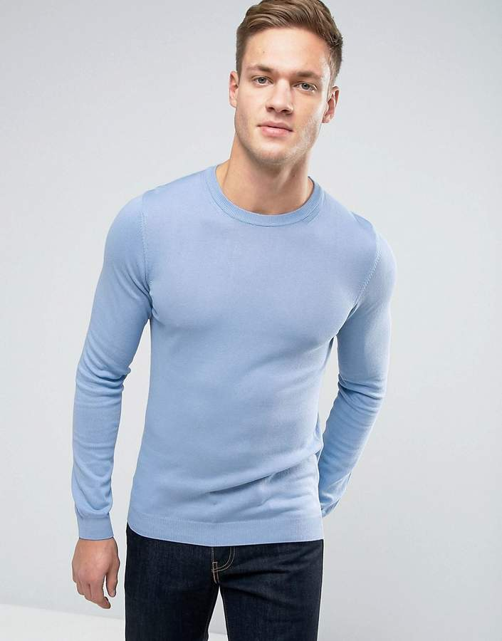 ASOS Cotton Crew Neck Sweater in Muscle Fit