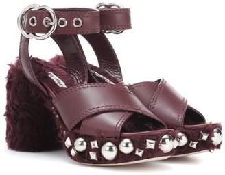 Miu Miu Leather and faux fur sandals