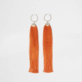 River Island Orange tassel drop hoop earrings