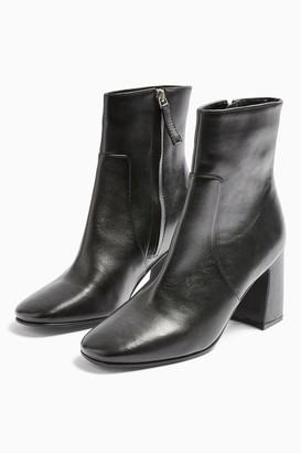 Topshop MABEL Leather Black Block Boots