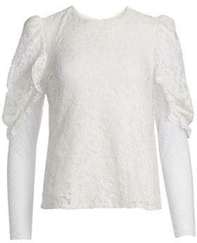 See by Chloe Lace Sheer Sleeve Blouse