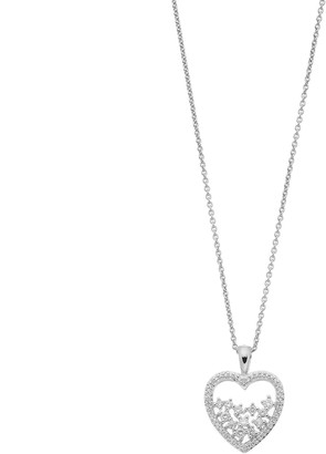 Vera Wang Simply Vera Sterling Silver 1/4 Carat T.W. Diamond Openwork Heart Pendant Necklace