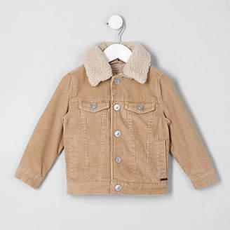 River Island Mini boys light brown cord trucker jacket