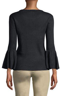Tahari ASL 3/4-Ruffle Sleeve Ribbed Sweater