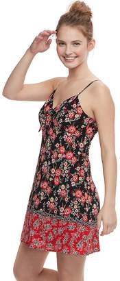 Trixxi Juniors' Tie-Front Floral Swing Dress